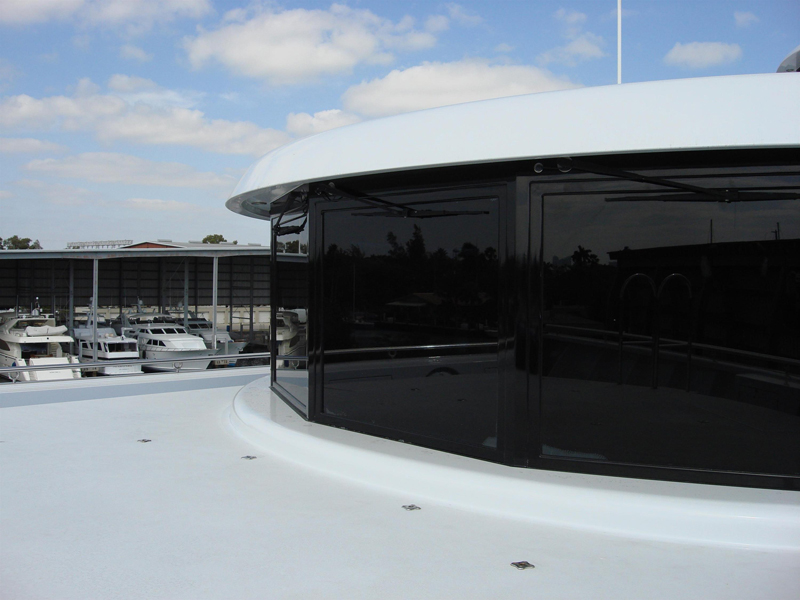 Tinted marine glass on a yacht