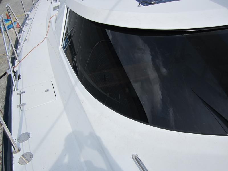 sleek black boat windshield