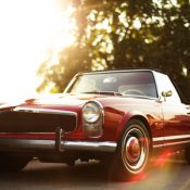 Classic car with curved glass