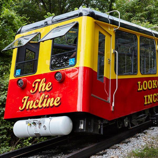 The incline railcar featuring ProCurve Glass design
